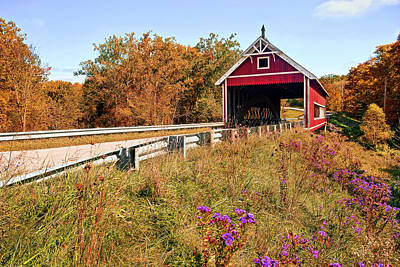 Tree Photograph - Netcher Road Covered Bridge by Marcia Colelli