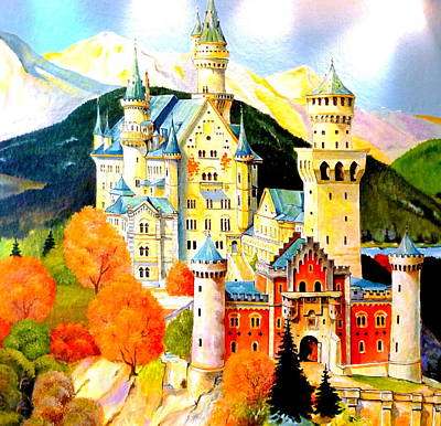 Neuschwanstein Castle In The Fall Print by The Creative Minds Art and Photography