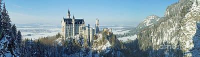 Neuschwanstein Castle Panorama In Winter Print by Rudi Prott