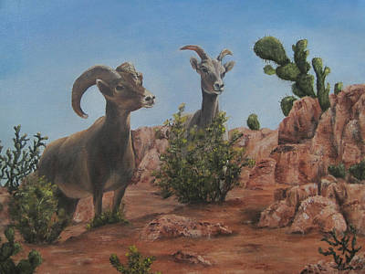Nevada Big Horns Print by Roseann Gilmore