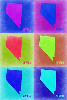 Nevada Digital Art - Nevada Pop Art Map 2 by Naxart Studio