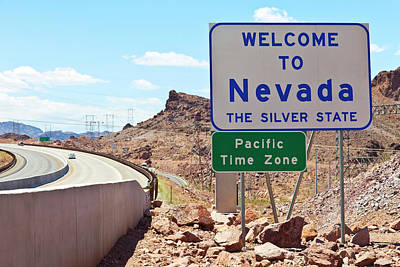 Nevada Welcome Sign Near Hoover Dam Print by Panoramic Images