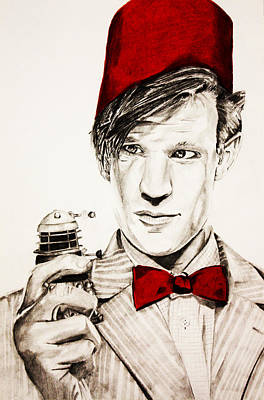 Doctor Who Drawing - Never Ending Time War by Nick Vogt