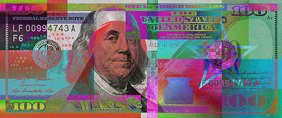 New 2009 Series Pop Art Colorized Us One Hundred Dollar Bill  V.3.2 Print by Serge Averbukh