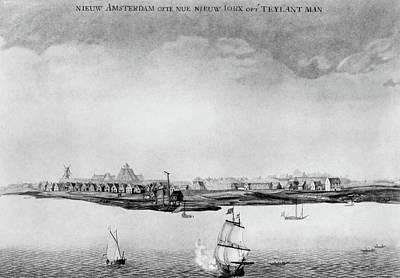 Newton Drawing - New Amsterdam, C1650 by Granger
