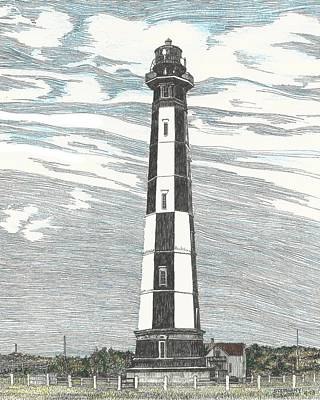 Drawing - New Cape Henry Lighthouse At Fort Story by Stephany Elsworth