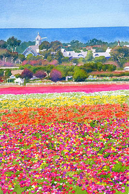 Windmill Painting - New Carlsbad Flower Fields by Mary Helmreich