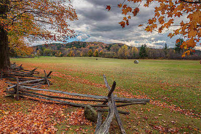 Geese Photograph - New England Autumn Field by Bill Wakeley