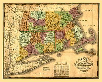 Old Map Digital Art - New England by Gary Grayson