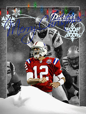 New England Patriots Christmas Card Print by Joe Hamilton