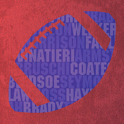 Harrison Mixed Media - New England Patriots Football Team Typography Famous Player Names On Canvas by Design Turnpike