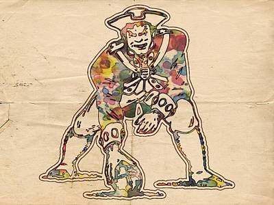 New England Patriots Vintage Logo Print by Florian Rodarte