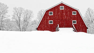 New England Red Barn In Winter Snow Storm Print by Edward Fielding