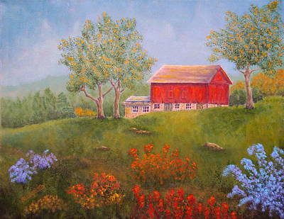 Fruit Tree Art Painting - New England Red Barn Summer by Pamela Allegretto