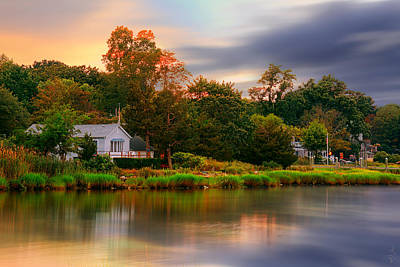 Sunset Photograph - New England Setting by Lourry Legarde