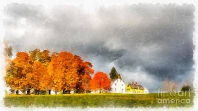 Red Barn. New England Photograph - New England Village by Edward Fielding