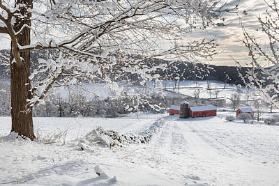 Red Barn In Winter Photograph - New England Winter Farms by Bill Wakeley