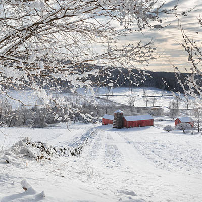 New England Winter Farms Square Print by Bill Wakeley