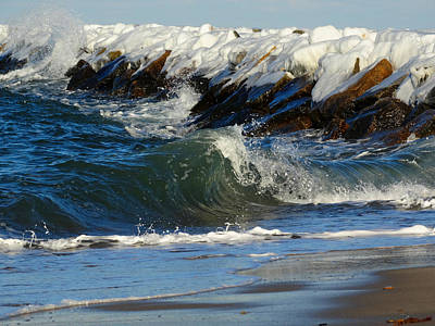 New England Winter Seashore Print by Dianne Cowen