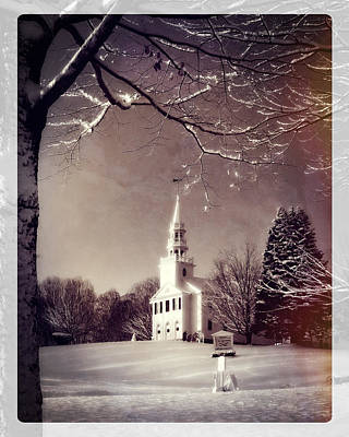 New England Winter Village Scene Print by Thomas Schoeller