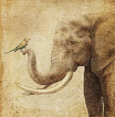 Elephant Drawing - New Friend by Eric Fan