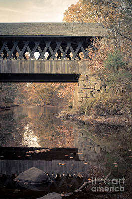 Covered Bridge Photograph - New Hampshire Covered Bridge Autumn by Edward Fielding