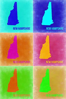 New Hampshire Pop Art Map 2 Print by Naxart Studio