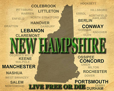 New Hampshire State Pride Map Silhouette  Print by Keith Webber Jr