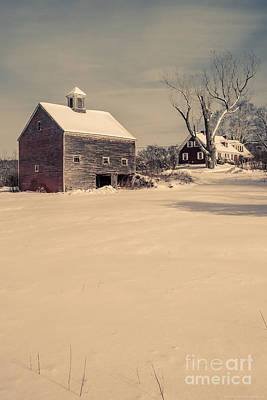 Red Barn. New England Photograph - New Hampshire Winter Farm Scene by Edward Fielding