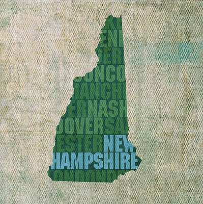 Mixed Media - New Hampshire Word Art State Map On Canvas by Design Turnpike