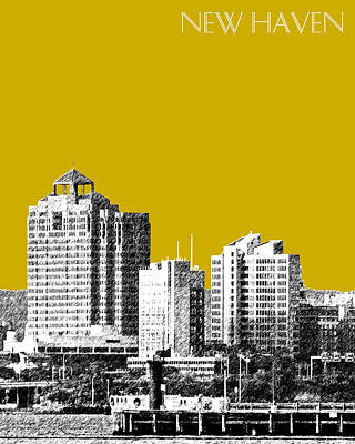 Pen Digital Art - New Haven Skyline - Gold by DB Artist
