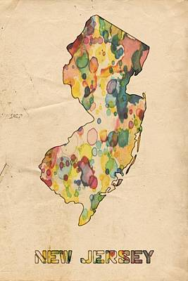 American Painting - New Jersey Map Vintage Watercolor by Florian Rodarte