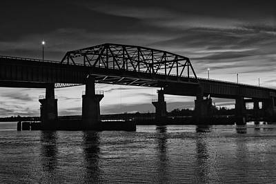 New Jersey Meadowlands Sunset Bw Print by Susan Candelario