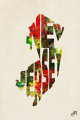 Hometown Digital Art - New Jersey Typographic Watercolor Map by Ayse Deniz
