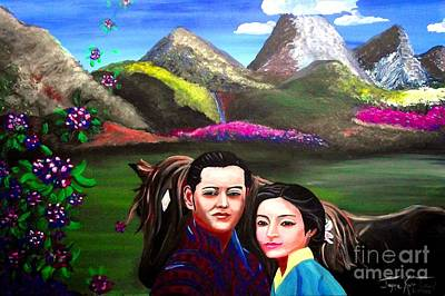 Bhutan Painting - New King And Queen Of Bhutan by Jayne Kerr