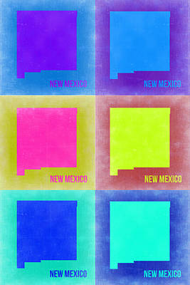 Mexico Digital Art - New Mexico Pop Art Map 2 by Naxart Studio
