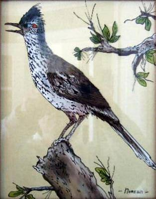 Reverse On Glass Painting - New Mexico Roadrunner by Noreen Swanson