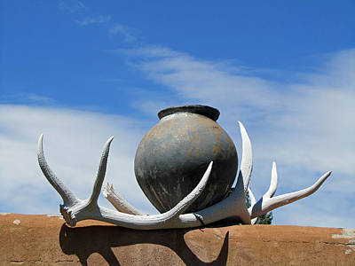 Elizabeth Rose Photograph - New Mexico Scene With Bleached Antlers And Pottery by Elizabeth Rose