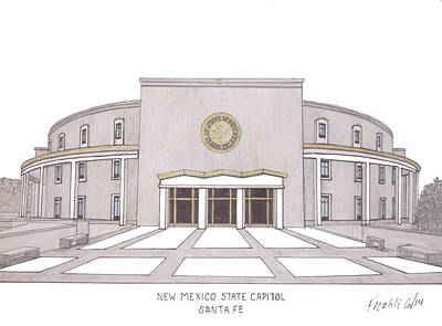 Capitol Building Drawing - New Mexico State Capitol by Frederic Kohli