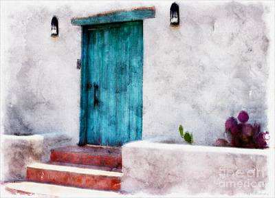 Las Cruces Digital Art - New Mexico Turquoise Door And Cactus  by Barbara Chichester