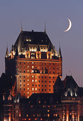 Quebec Photograph - New Moon Over Chateau Frontenac In Quebec City by Juergen Roth