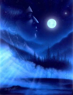 Visionary Art Drawing - New Moon by Tony Nixon
