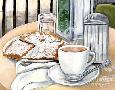 New Orleans Cafe Du Monde Print by Elaine Hodges