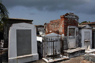 Marble Tomb-stones Photograph - New Orleans Cemetery by Ryan Burton