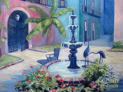 New Orleans Oil Painting - New Orleans Fountain 2 by Gretchen Allen