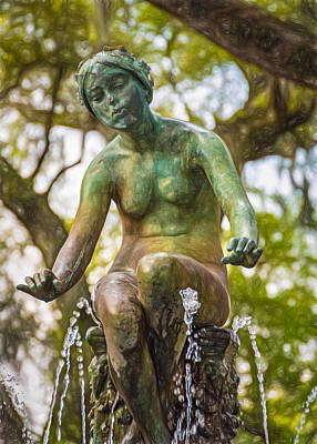 Walkway Digital Art - New Orleans Fountain 2 - Paint by Steve Harrington
