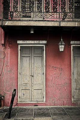 Pyrography Photograph - New Orleans French Quarter Balcony And Doorway by Ray Devlin