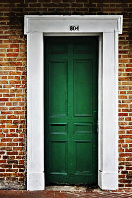 Dark Photograph - New Orleans Green Door by Christine Till
