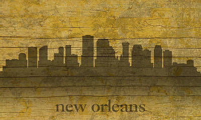 Louisiana Mixed Media - New Orleans Louisiana Skyline Silhouette Distressed On Worn Peeling Wood by Design Turnpike