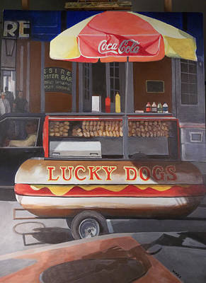 Lucky Dogs Painting - New Orleans Lucky Dog by Walt Maes